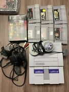 Super Nintendo Snes Console 1 Controller Wires And Games Lot Mario Kart