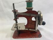 Antique Miniature Travelling Salesman Sewing Machine With Original Carry Case
