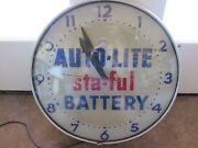 Rare Vintage Auto-lite Sta-ful Battery Wall Clock Original Working Glass Ad Sign