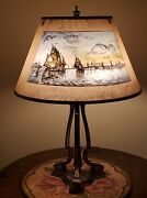 Antique Arts And Crafts Pairpoint Reverse Painted Nautical Ship Scene Table Lamp