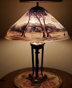 Antique Pairpoint Reverse Painted Scenic 18 Table Lamp