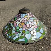Studios Reproduction Slag Stained Glass Hanging Lamp Shade Chandelier