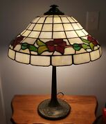 Antique Charles Parker Leaded Slag Stained Glass Banded Red Rose Table Lamp