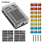 12-way Fuse Box Block Led Indicator Light Waterpoof Cover Fit 12v/24v Truck Boat