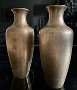 """Antique Pair Bronze Oriental Vases Base Marked Sterling Inlay 7"""""""