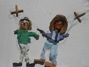 Vintage Mexican String Puppet Gunman And Clown Marionette Bl2