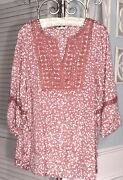 New Plus Size 3x Pink Peasant Blouse Dusty Rose Lace Crochet Shirt Top