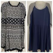 Lot Of 2 Torrid Womens Plus Size Dresses Size 6 Navy Blue Stretch Black And White