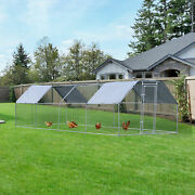 Large Metal Walk-in Chicken Coop Run Cage Outdoor Cover 9' W X 24' D X 6.5' H