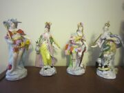 Sitzendorf Porcelain Set Of Figurines - 4 Continents Made In Germany