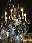 antique Brown Chandelier With Crystal Prisms