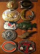 set Of 10 Vintage Belt Buckles. Chicago Bears, Lucky Seven, And More.