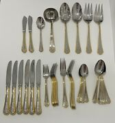 Lenox Andldquofruits Of Lifeandrdquo Gold Accent Flatware 18/8 Stainless Steel Japan - 33 Pcs