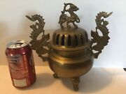 Brass Chinese Dragon Incense Burner 3 Legged Made In India