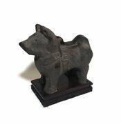 Clay Dog Pottery Asian Han Dynasty Statue On Wooden Base