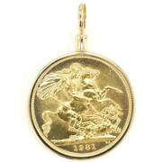 Sovereign 1pound British Coin 22k Gold 18k Pendant Top Free Shipping Used