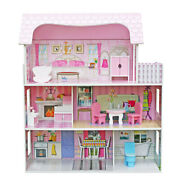 Wooden Doll House Girls Pretend Play Furniture 3 Level Large Toy Pink Dollhouse
