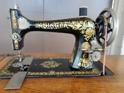 Beautiful 1908 Singer 27 Sewing Machine In 7 Drawer Cabinet W/pheasant Decals
