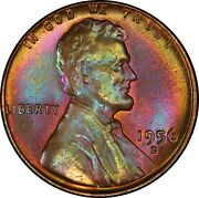 1956-d 1c Lincoln Wheat Cent Pcgs Ms66+ Rb Pop 3/3 Rainbow Toned