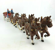 Antique 1930's Cast Iron Beer Wagon W/ 31 Wooden Kegs And 8 Clydesdale Horses
