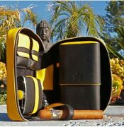 Brizard And Co Havana Traveler Yellow Leather Cigar Case Flask Lighter Cutter Spac