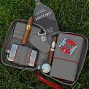Brizard And Co Havana Traveler Gray And Red Leather Cigar Case Flask Lighter Cutter