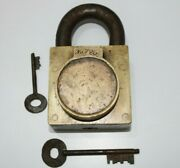 An Old Antique Brass Solid Trick Hidden Key Hole Padlock 2 Key Holes And 2 Keys