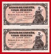 Rare Unc 5 Pesetas 1937 And039and039portabellaand039and039and039 Two Banknotes Consecutive Numbers.