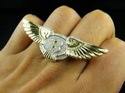 Menand039s Bentley Wings 2 Finger Ring 3 Ct Genuine Moissanite 14k Yellow Gold Plated