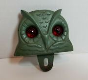 Rare - Vintage National Colortype Owl License Plate Topper Red Glass Eyes