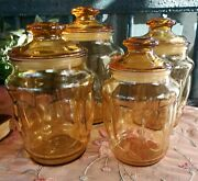L E Smith Vintage Amber Canister Apothecary Jars W/ Lids Set Of 4