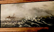 Antique Oil On Canvas-lighthouse And Ship At Sea
