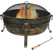 Cauldron Outdoor Fire Pit 34 Inch Large Bonfire Wood Burning Patio And Backyard