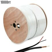 1000ft Rg59 Video Coax + 2 X 18awg Power Line Wire Cctv Security Camera Cable