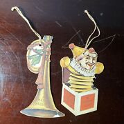 Antique Victorian Diecut Paper Christmas Ornaments Jack In A Box And Horn
