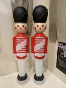 Lot Of 2 Vintage Christmas Tpi 31 Toy Soldier Blow Mold