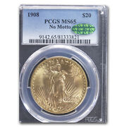 1908 20 St. Gaudens Gold Double Eagle No Motto Ms-65 Pcgs Cac - Sku151719