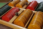 Vintage Bakelite Poker Chips 187 And Best Ever Sealed Playing Cards In Case