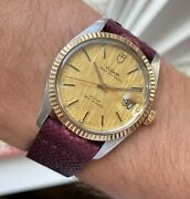 Vintage Tudor Oysterdate Automatic Champagne Linen Dial Two Tone Watch