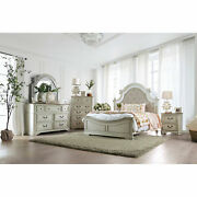 Antique Whitewash Cal King Size Bed Dresser Mirror 2x Ns 5pc Bedroom Furniture
