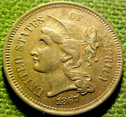 1867 There Cent Nickel 3c Higher Grade W/ Solid Roman Numeral And Details 02ym