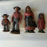 Vintage Cast Iron Metal Lot Of 4 Amish Man Women Boy Girl Paperweights Figures