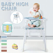 Adjustable Wood High Chair Baby Toddlers Convertible Feeding Highchair W/