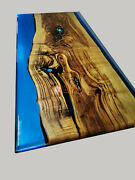 Blue Resin Epoxy Dining Conference Table Acacia Wood Handmade Design Table Deco