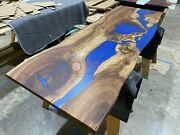 Acacia Epoxy Handmade Blue Resin River Dining Cocktail Table Top Wooden Decors