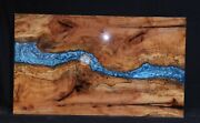Live Edge Blue Resin River Antique Dining Center Table Top Handmade Interior Top