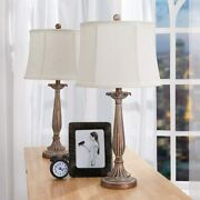 Maxax Table Lamps Set Of 2 Bedside Lamp For Living Room Bedroom Antique Brown