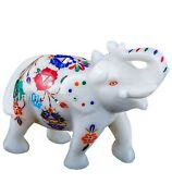 5 Inches Marble Decorative Elephant Statue Inlay Multi Color Stone Marble Statue