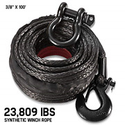 Synthetic Winch Rope 3/8 X 100and039 - 23809 Ibs Winch Line Cable Rope With Sleeve