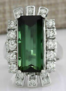 Victorian Edwardian Engagement Antique Ring 14k White Gold Over 6.48 Ct Emerald